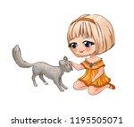 little chibi girl stroking a... | Shutterstock . vector #1195505071