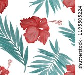 seamless tropical pattern with... | Shutterstock . vector #1195505224
