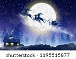 winter blue sky with falling... | Shutterstock .eps vector #1195515877