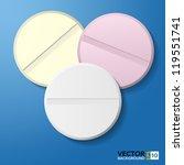 Medical pill 3d tablet.  Illustrator EPS10 - stock vector