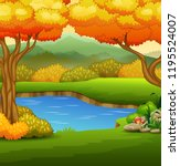 autumn landscape with rivers... | Shutterstock .eps vector #1195524007
