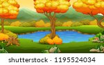 autumn landscape with rivers... | Shutterstock .eps vector #1195524034