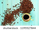green cup of coffee and coffee... | Shutterstock . vector #1195527844