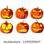set of six pumpkins for... | Shutterstock .eps vector #1195529647