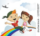 happy girl and the boy sit on a ... | Shutterstock . vector #119553097