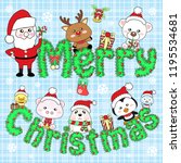 merry christmas with santa and... | Shutterstock .eps vector #1195534681