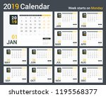2019 calendar template  planner ... | Shutterstock .eps vector #1195568377