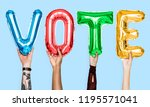 colorful alphabet balloons... | Shutterstock . vector #1195571041