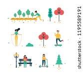 autumn season background people ... | Shutterstock .eps vector #1195589191