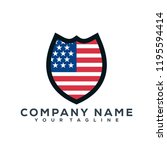united state flag shield vector ... | Shutterstock .eps vector #1195594414