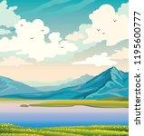 spring morning landscape....   Shutterstock .eps vector #1195600777
