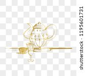 teapot and cup vector. hand... | Shutterstock .eps vector #1195601731