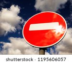 road sign traffic closed on...   Shutterstock . vector #1195606057