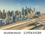 aerial daytime skyline of dubai ... | Shutterstock . vector #1195614184
