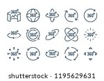 360 degree line icons. vector... | Shutterstock .eps vector #1195629631