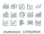 chart and statistics line icons.... | Shutterstock .eps vector #1195629634