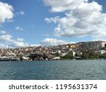 golden horn with ships and... | Shutterstock . vector #1195631374