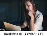 young beautiful caucasian... | Shutterstock . vector #1195644154