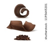vector 3d realistic chocolate... | Shutterstock .eps vector #1195645201