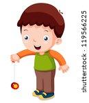 illustration of Cartoon boy playing yo-yo