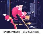 santa sitting near fireplace.... | Shutterstock .eps vector #1195684801