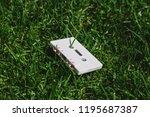 white audio cassette on the... | Shutterstock . vector #1195687387
