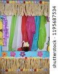 luau party backdrop | Shutterstock . vector #1195687534