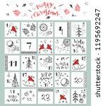 hand drawn christmas advent...   Shutterstock .eps vector #1195692247