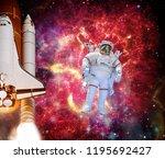 rocket  shuttle   astronaut in... | Shutterstock . vector #1195692427
