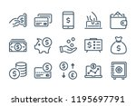 money and payment line icons.... | Shutterstock .eps vector #1195697791