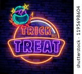 halloween neon sign vector.... | Shutterstock .eps vector #1195698604