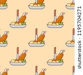 seamless pattern with pork... | Shutterstock .eps vector #1195704271