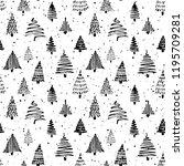 christmas tree seamless pattern....   Shutterstock .eps vector #1195709281