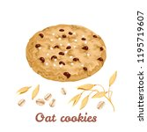 oatmeal cookies with chocolate... | Shutterstock .eps vector #1195719607