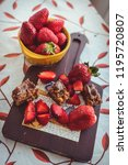 strawberries and chocolate bar... | Shutterstock . vector #1195720807