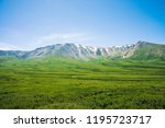 giant mountains with snow above ... | Shutterstock . vector #1195723717