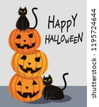 halloween pumpkin with black... | Shutterstock .eps vector #1195724644