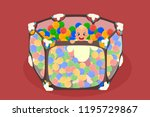 abstract baby's playpen with a... | Shutterstock .eps vector #1195729867