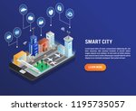 smart city technology with... | Shutterstock .eps vector #1195735057