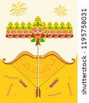 illustration of happy dussehra... | Shutterstock .eps vector #1195758031