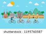 vietnam travel concept. family... | Shutterstock .eps vector #1195760587