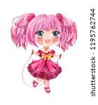 cute little girl jumping with... | Shutterstock . vector #1195762744