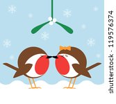 two cartoon robin redbreasts...   Shutterstock .eps vector #119576374