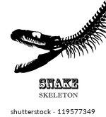Snake Skeleton In Black And...