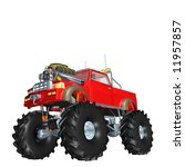 Red Monster Truck With Huge...