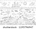 funny composition of marine... | Shutterstock .eps vector #1195796947