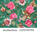 fantasy floral seamless pattern ... | Shutterstock .eps vector #1195799794