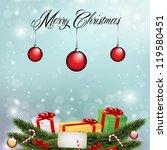 christmas lights on blue...   Shutterstock .eps vector #119580451