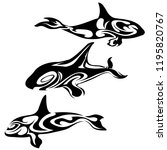 orca killer whales tattoo... | Shutterstock .eps vector #1195820767