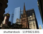 new york cityscape with trinity ... | Shutterstock . vector #1195821301
